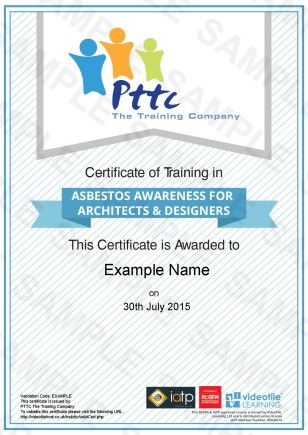 PTTC E-Learning Asbestos Awareness Training Course for Architects Course Sample Certificate
