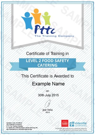 PTTC E Learning Level 2 Award in Food Safety Training for Catering Course Sample Certificate